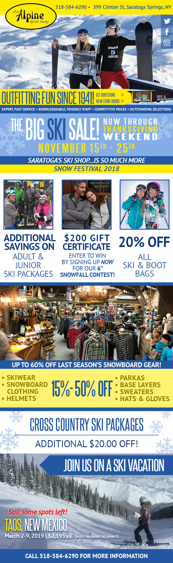 The BIG SKI SALE, November 15 - 25