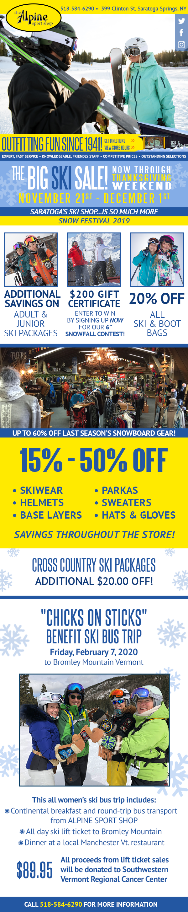 The Big Ski Sale! Now Through Thanksgiving Weekend